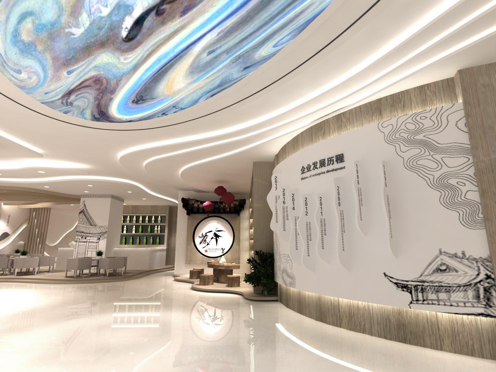 城市展厅设计方案中的企业发展历程展示效果图