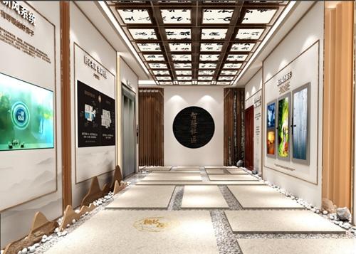 企业展馆设计方案的走廊设计效果图