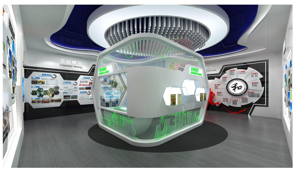 企业展厅设计设计方案的效果图6