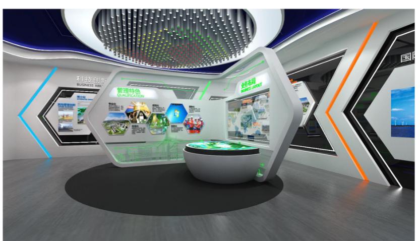 企业展厅设计设计方案的效果图2