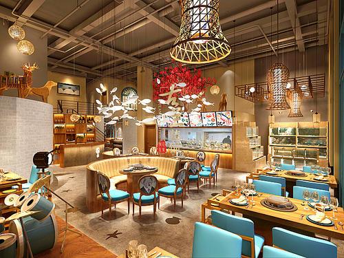 展厅设计公司的餐厅设计效果图