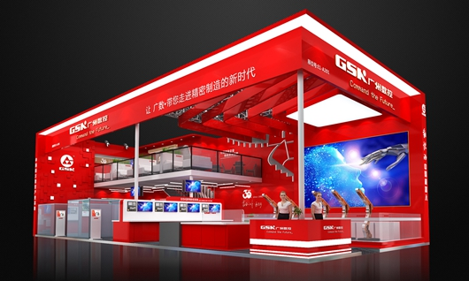 广州数控展台设计搭建方案的侧面图
