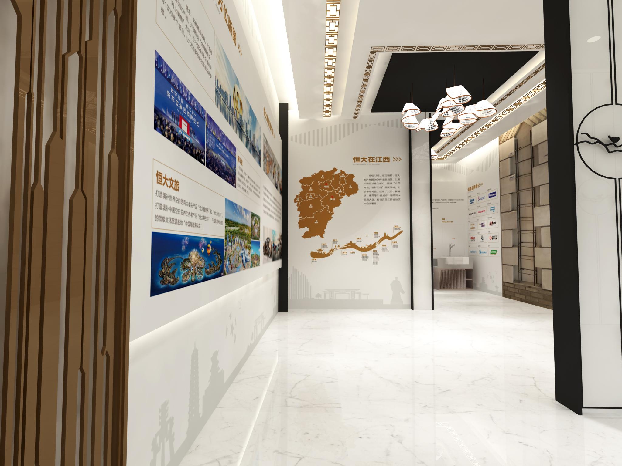 恒大足球小镇展厅设计效果图的走廊设计