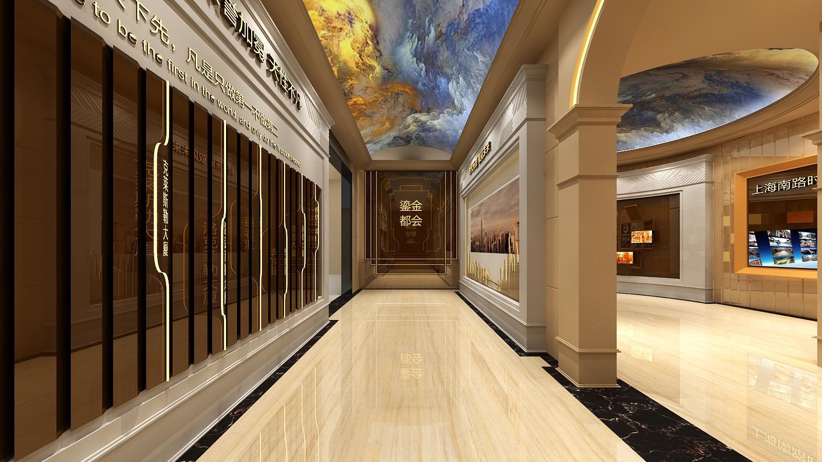 碧桂园新城体验馆设计方案之走廊墙面设计效果图