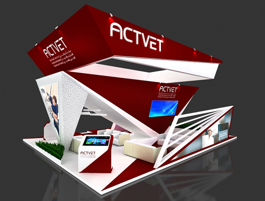 展会展台设计方案之侧面效果图2