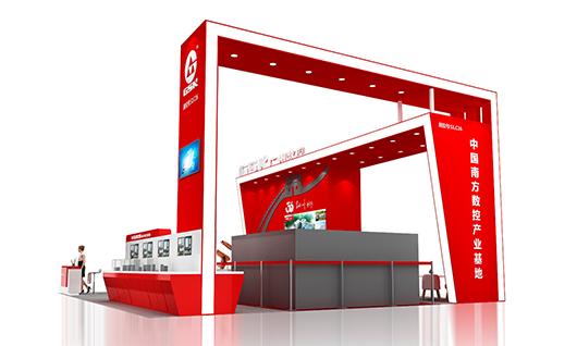 青岛国际机床展览会展台设计搭建侧面设计效果图2