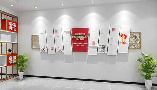 企业党建文化墙设计方案之展示空间设计效果图
