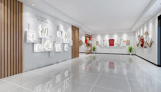 企业党建文化墙设计方案之走廊设计效果图