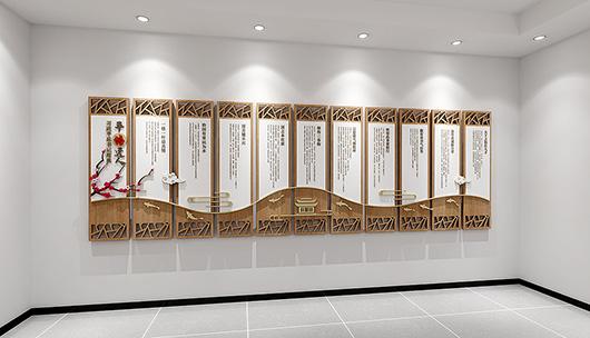 企业党建文化墙设计方案之展示设计装修效果图