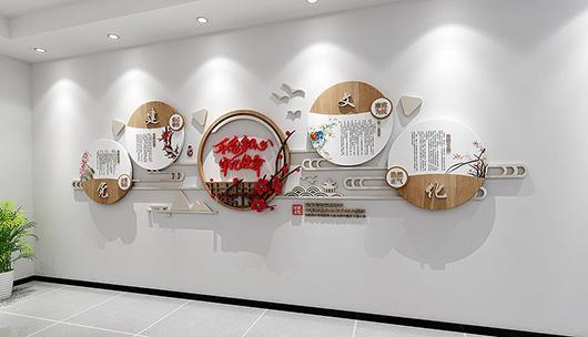 企业党建文化墙设计方案的设计效果图