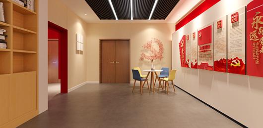 党建文化展厅设计方案之走廊展示墙设计效果图