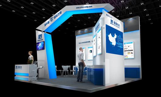 中国国际传感器技术与应用展览会展台设计搭建侧面效果图2